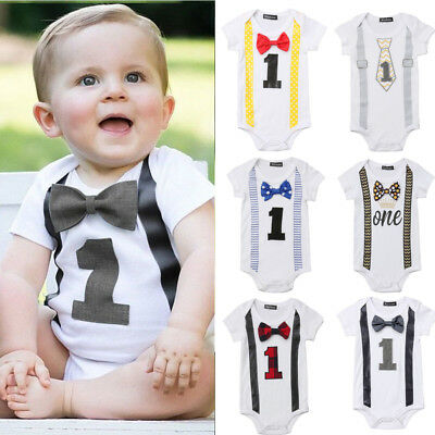 Gentleman Bow Romper Baby Boy My First 1st Birthday Party Jumpsuit Outfits 0-1Y