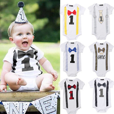 AU First Birthday Party Romper Baby Boy Gentleman Bow Bodysuit Jumpsuit Outfit