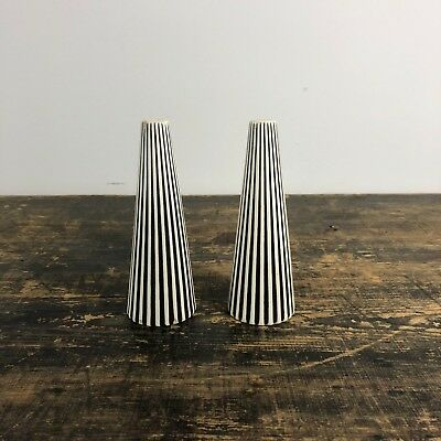 Vintage 50s 60s atomic salt and pepper shakers black cream  ridged cruet