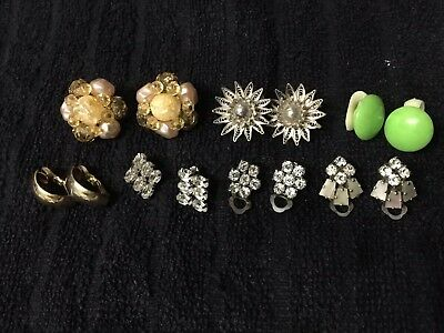 Job Lot 7 Pairs Vintage Clip-On Earrings 1930s-60s-90s