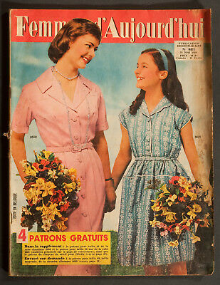 'femmes D'auourd'hui' French Vintage Magazine Dress Pattern 22 May 1958