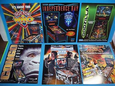 Pinball FLYER Lot Of (6) ORIGINAL NOS Doctor Who Attack From Mars Congo Set #41