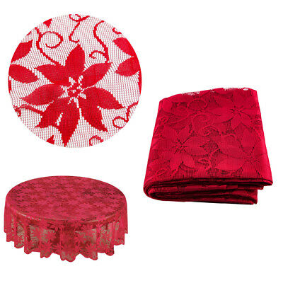 US Christmas Vintage Lace Tablecloth Floral Table Runner Doily Wedding Party Red