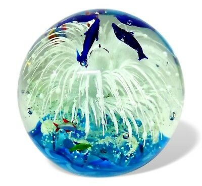 large sphere paperweight aquarius glass murano cenedese 70's vintage