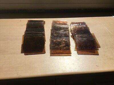 """Antique stained glass Squares Reclaimed 50 Pieces 4x4"""" Brown or Amber Colour"""