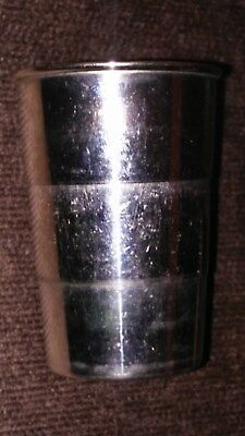 Antique Silver plate Mkd. Germany collapsable cup w/ leather holder.