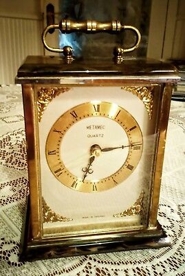 Vintage Metamec Onyx & Brass Carriage/Mantel Clock. Kundo. Full Working Order.