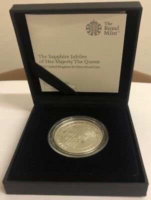 Royal Mint 2017 Sapphire Jubilee Of Her Majesty The Queen £5 Silver Proof Coin