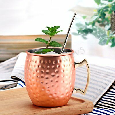 4 PCS Moscow Mule Mug Cup Drinking Hammered Copper Brass Steel Gift Set 18oz