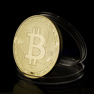 US 10 Gold Plated Bitcoin Coin BTC Coin Commemorative Collectors Business Office