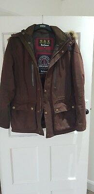 Mens Waxed Barbour Jacket Size Medium with removable fur hood