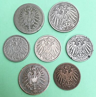 GERMANY Empire:- 7 different 19th & 20th century value /mint mark coins.  AP7308