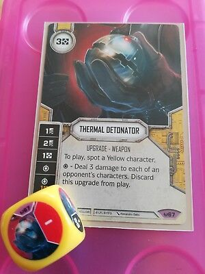 Star Wars Destiny Card #67 Thermal Detonator Card and Dice