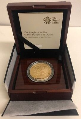 Royal Mint 2017 Sapphire Jubilee of her Majesty The Queen £5 Gold Proof Coin.COA
