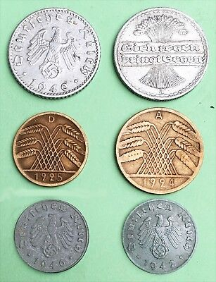 GERMANY 3rd Reich & Weimar republic:- 6  different  pre & post WW2 coins. AP7309