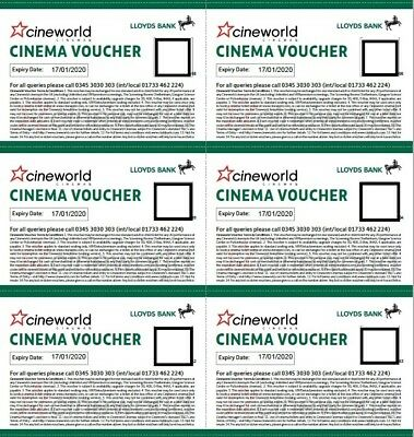 6 x Cineworld Vouchers Exp. 01/2020 Instant Delivery