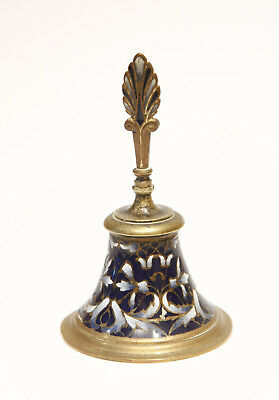 Old Antique Bronze / Brass French champleve enamel / cloisonne dinner bell