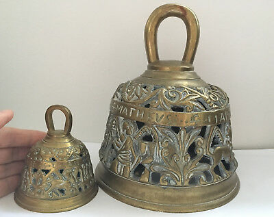 2 OLD BRASS BELLS with names of Evangelists / Symbols (Large Bell 19 cm- 2.1 kg)