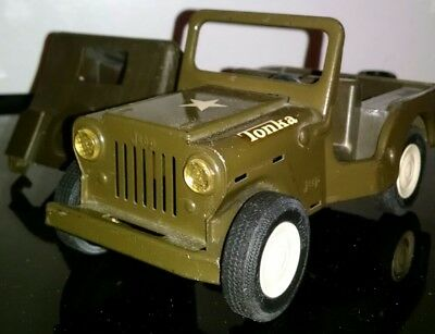 Vintage 1960s Tonka Toys Willys Universal Military Army Jeep with roof