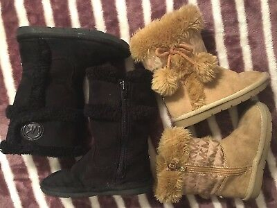 Michael Kors *LOT Includes 2 pairs Toddler Girls Boots Size 7, Black, Beige, Fur