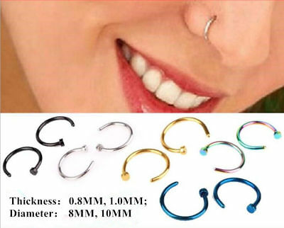 Surgical Steel Open Nose Ring Hoop Lip Ring Small Thin Piercing 6 Colour 2 Size