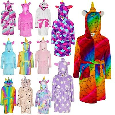 Kids Girls 3D Animal Unicorn Bathrobe Fleece Dressing Gown Loungewear 2-13 Years
