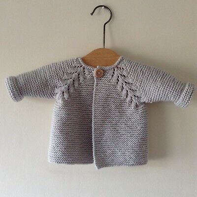 Baby Cardigan Jacket Hand Knitted  Grey 3 - 6Months