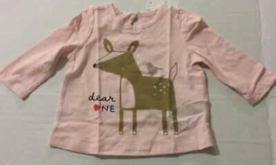 New Girls Baby Gap Pink Long Sleeve Keyhole Top 3-6 Months