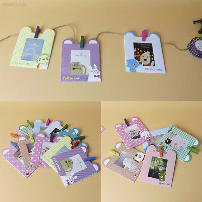 6AE2 10Pcs/1Set Hanging Paper Photo Frame Film Picture Wall Decor Rope Random