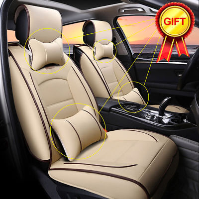UK Stock PU Leather Seat Cover Set Front+Rear w/Neck Lumbar Pillow for Sedan SUV