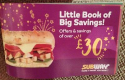 Subway Little Book Of Savings - £30 Worth Of Money-Off Coupons/Vouchers Midlands