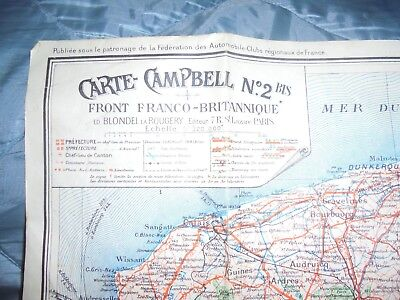 1918 France Regional Map, Carte Campbell No 2, Large Colour Map Eastern France