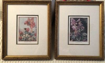 Lot of 2 Cicely Mary Barker Fairy Prints Red Clover Heliotrope Framed Matted VTG