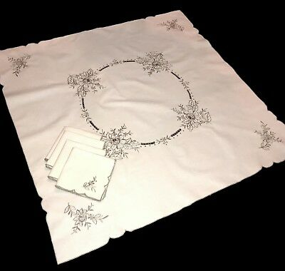 """Vintage Linen Madeira Taupe Embroidered Table Cloth Topper 32"""" + 4 Napkins Set"""