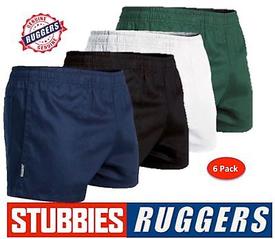 6 Pack - Genuine Stubbies Ruggers Elastic Waist Drill Mens Work Shorts - Se2060