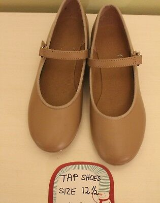 ABT American Ballet Theater Girls Tap Dance Shoes, Tan Colored, Size 12.5