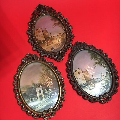 3 Vintage Italian Brass Metal Picture Frames Convex Glass Silk Print Italy Photo