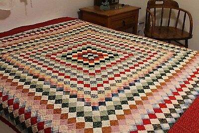 Vintage Cotton Hand Stitched Postage Stamp Quilt 67 by 79