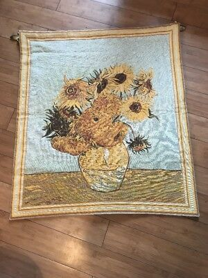 """Flemish Taspestries """"Sunflowers"""" tapestry Vincent Van Gogh and hanging pole"""