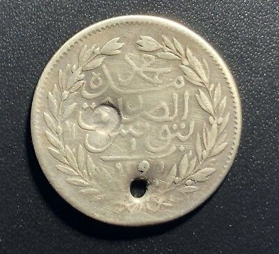 Tunisia AH 1291 Piastre Silver Coin with Star Counterstamp:  Holed