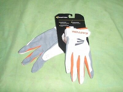 Easton Stealth Core Mako Fastpitch Women's Size XL White & Orange Batting Gloves