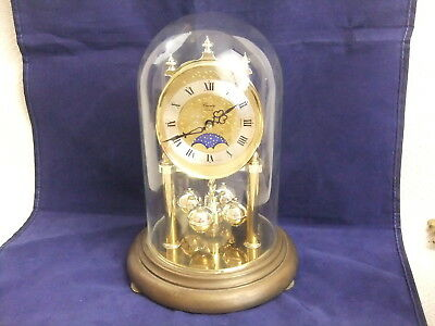 Vintage German County Clocks Mantel Clock with Glass Dome 9""