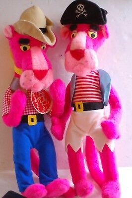 TWO vintage PINK PANTHER plush toys ~ PIRATE & COWBOY ~ Great Shape! Mighty Star
