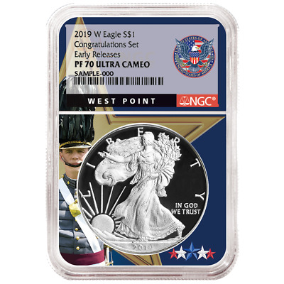 2019-W Proof $1 American Silver Eagle Congratulations Set NGC PF70UC ER West Poi