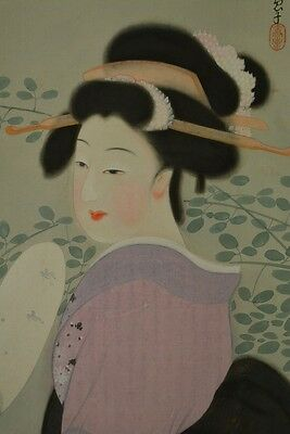 JAPANESE BEAUTY Hanging Scroll Painting Japan Asian ART Fan Antique Picture a114