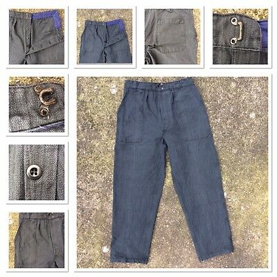 """30"""" VINTAGE 1940s WW2 FRENCH HEAVY COTTON STRIPE CHORE WORKWEAR TROUSERS HUNTING"""