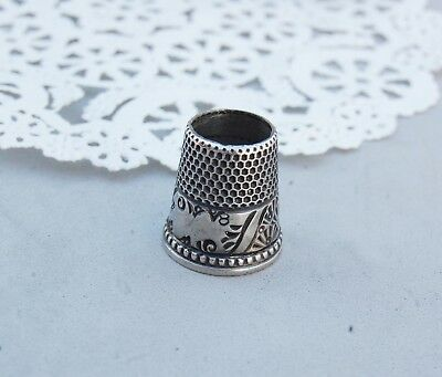 """Thimble Sterling Silver Open End Top """"8"""" Vintage Pattern 7/8"""" tall x 17mm Sewing"""