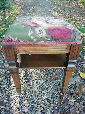 Antique Victorian Mahogany Stool With Shelf Tapered Legs Horsehair Bedroom Piano