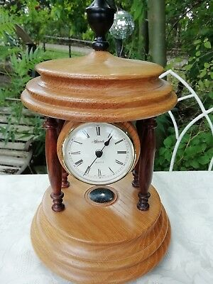 Vintage 1998 Hand Turned Crafted Oak & Ebony Mantle Clock Quartz Movement