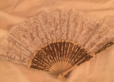 Antique 19th Century White / Ivory Lace Fan Large Bone or Celluloid